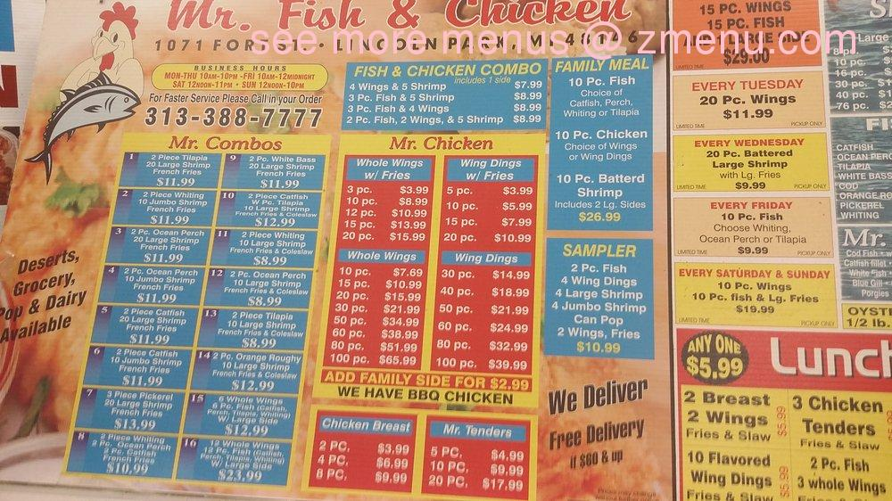 Online menu of mr fish chicken restaurant lincoln park for Sharks fish and chicken menu