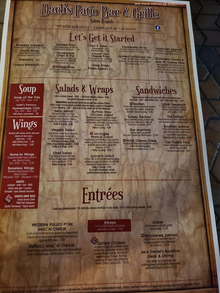 Online Menu Of Darbs Patio Restaurant Eaton Rapids Michigan 48827 Zmenu