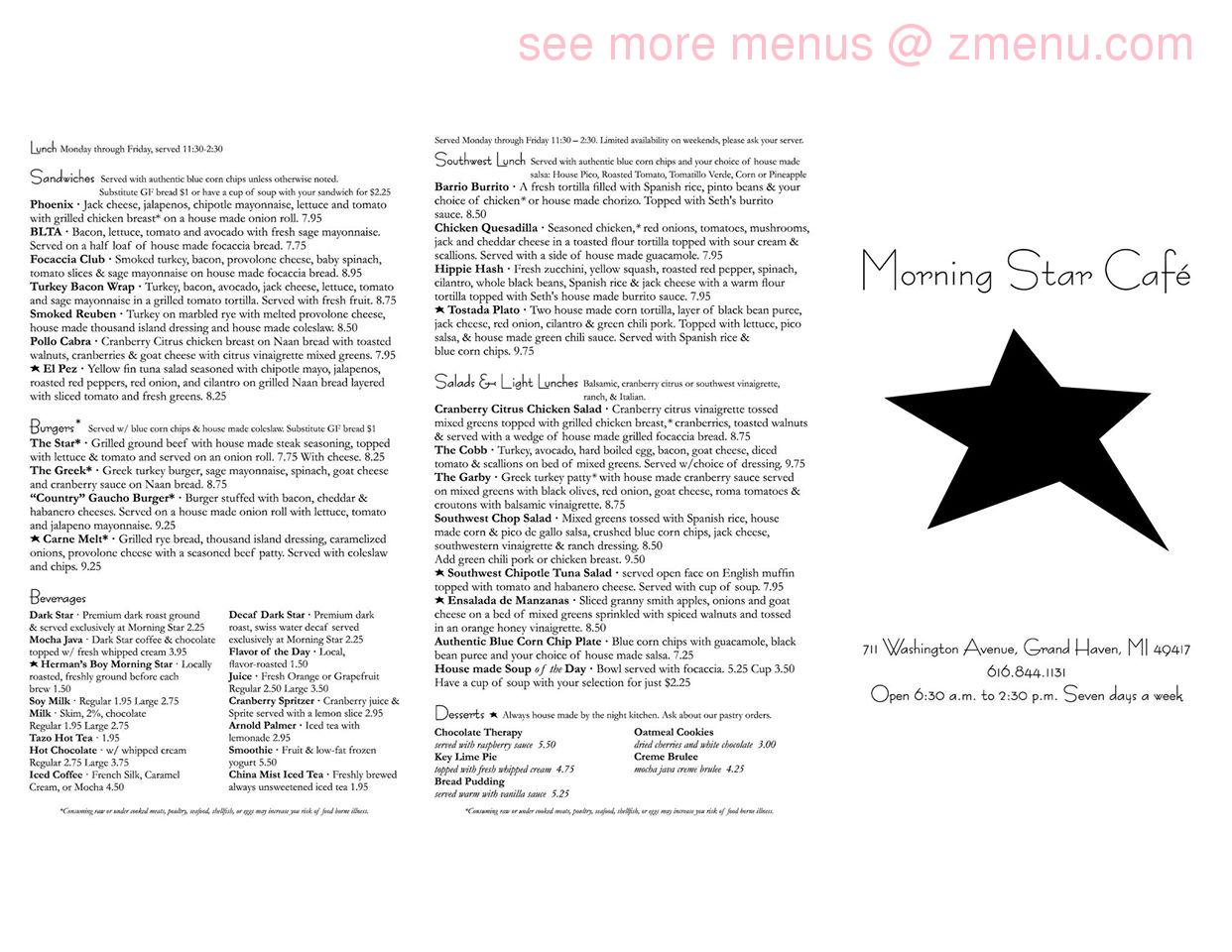 Morning Star Cafe Grand Haven Mi Menu