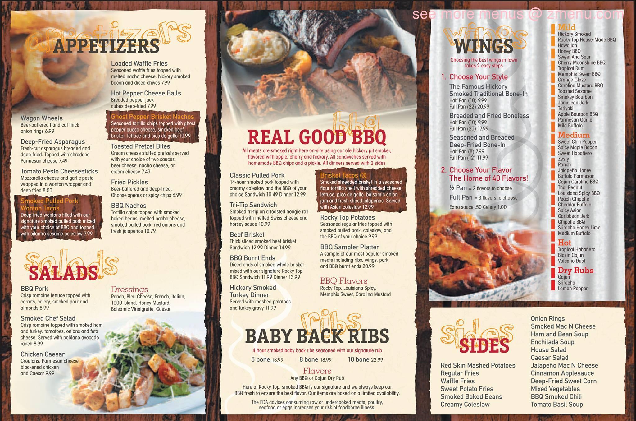 Online menu of rocky top beer bbq restaurant jackson for Aka japanese cuisine menu
