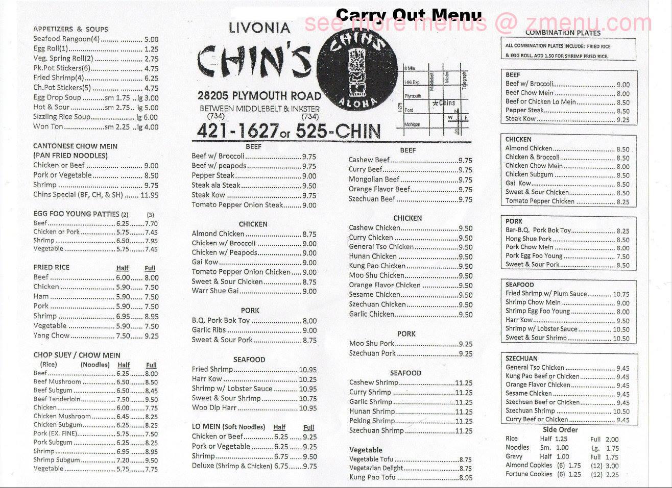 online menu of chins chop suey restaurant livonia