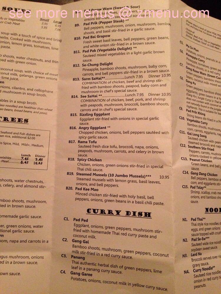 Sunny Thai Restaurant Madison Heights Menu