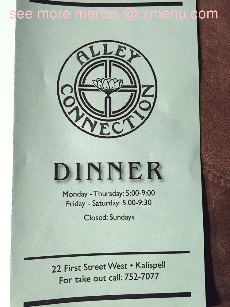 Alley Connection Restaurant Kalispell Menu