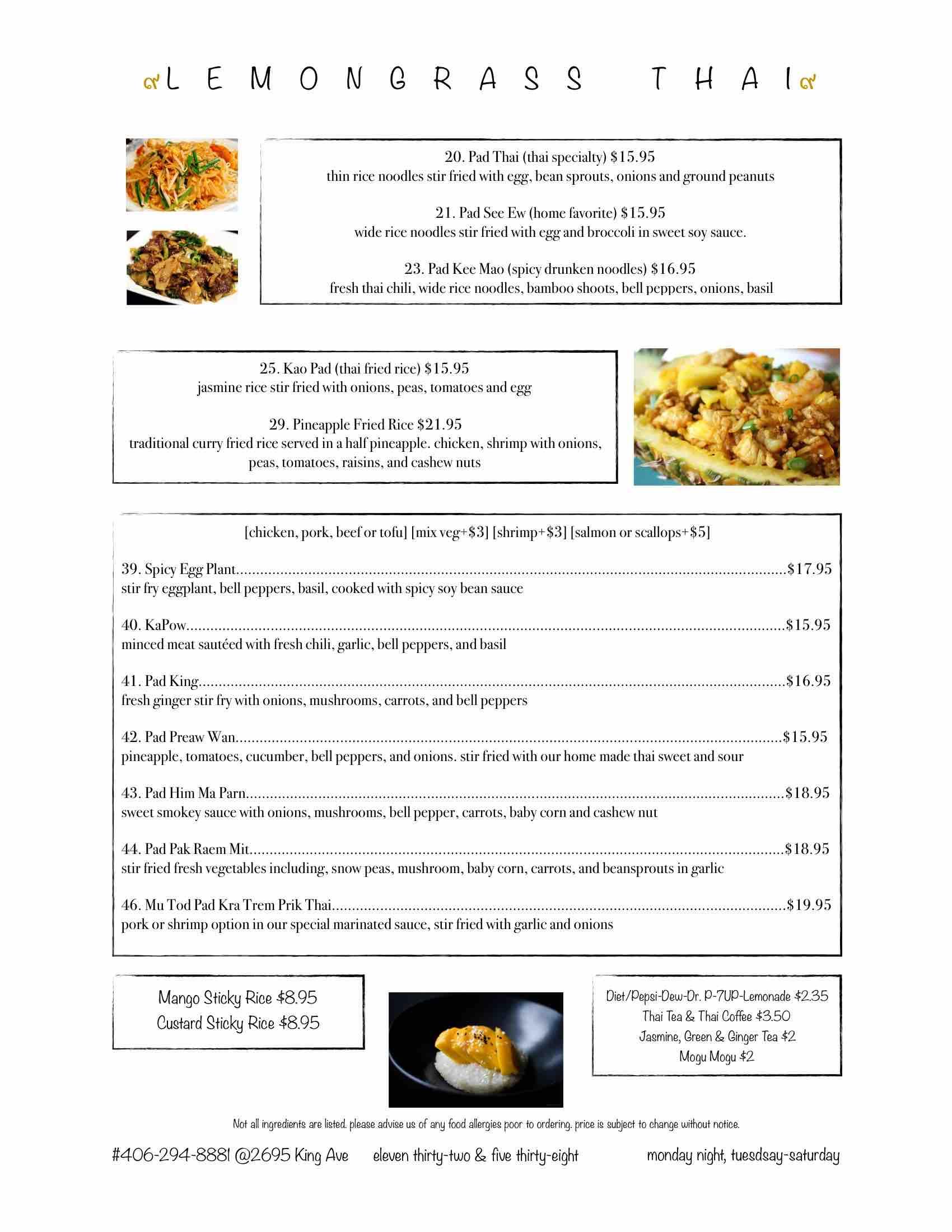 Lemongrass Thai Restaurant Billings Mt Menu