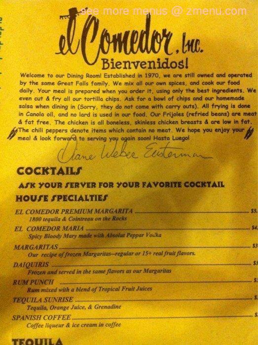 Online Menu of El Comedor Authentic Mexican Foods Restaurant, Great ...