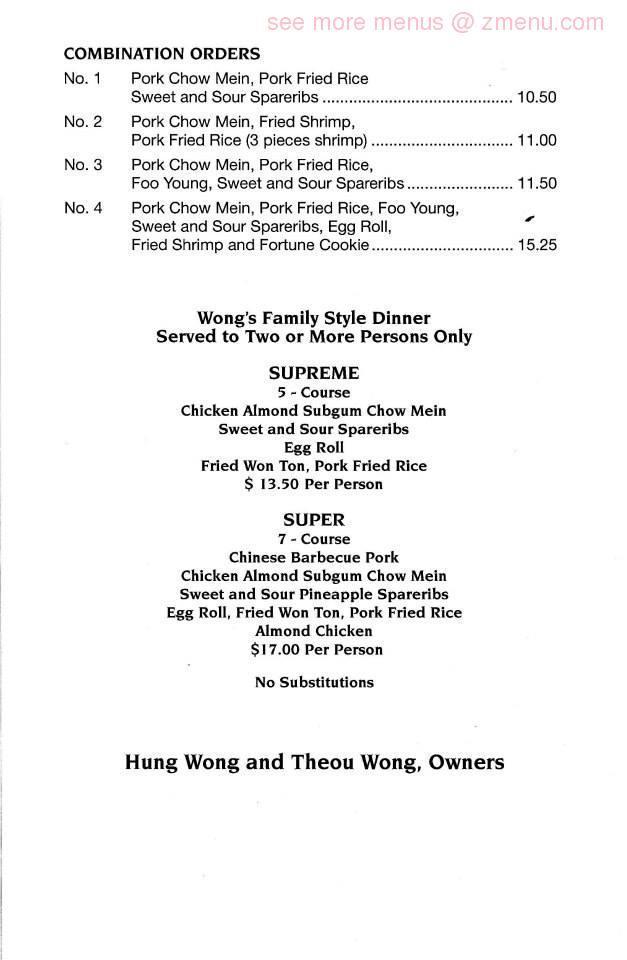 Online Menu of Wong\'s Chinese Kitchen & Oriental Shop Restaurant ...