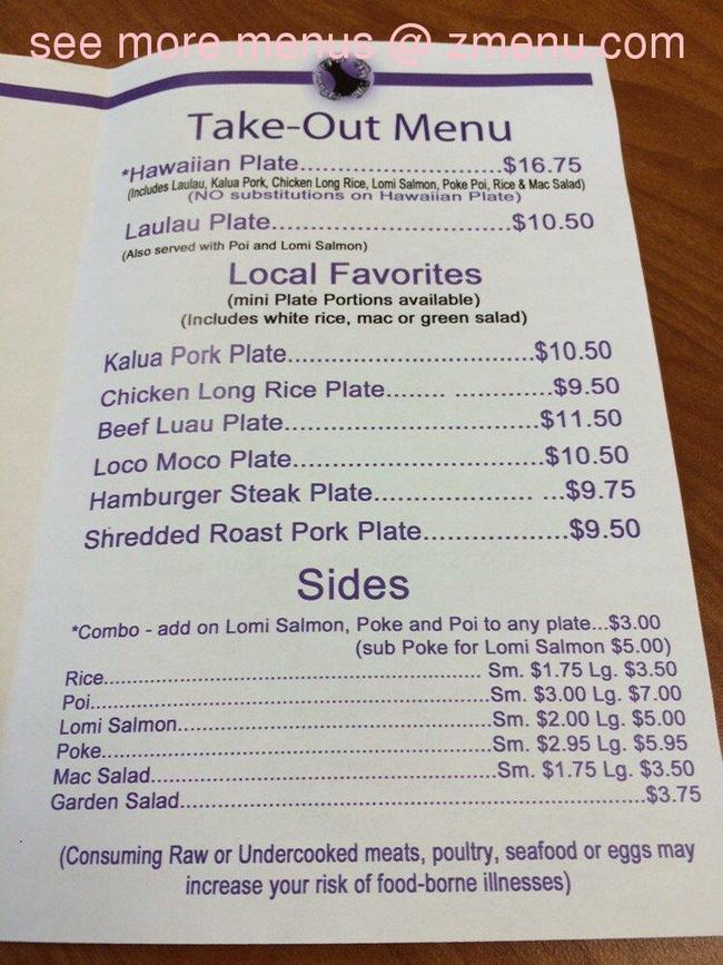 Online Menu Of Poi By The Pound Restaurant Kahului Hawaii 96732 Zmenu