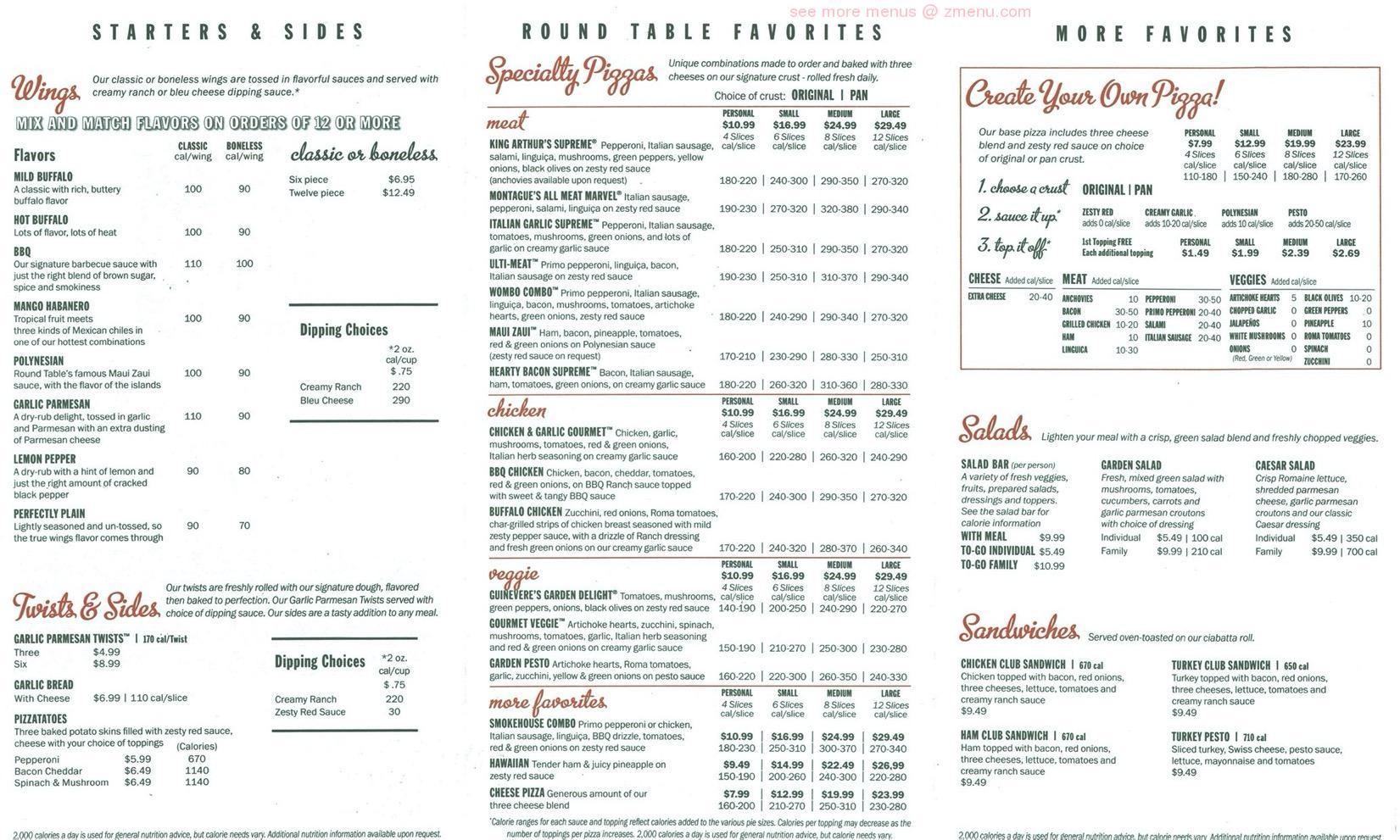 Online Menu Of Round Table Pizza Restaurant Kailua Hawaii 96734 Zmenu