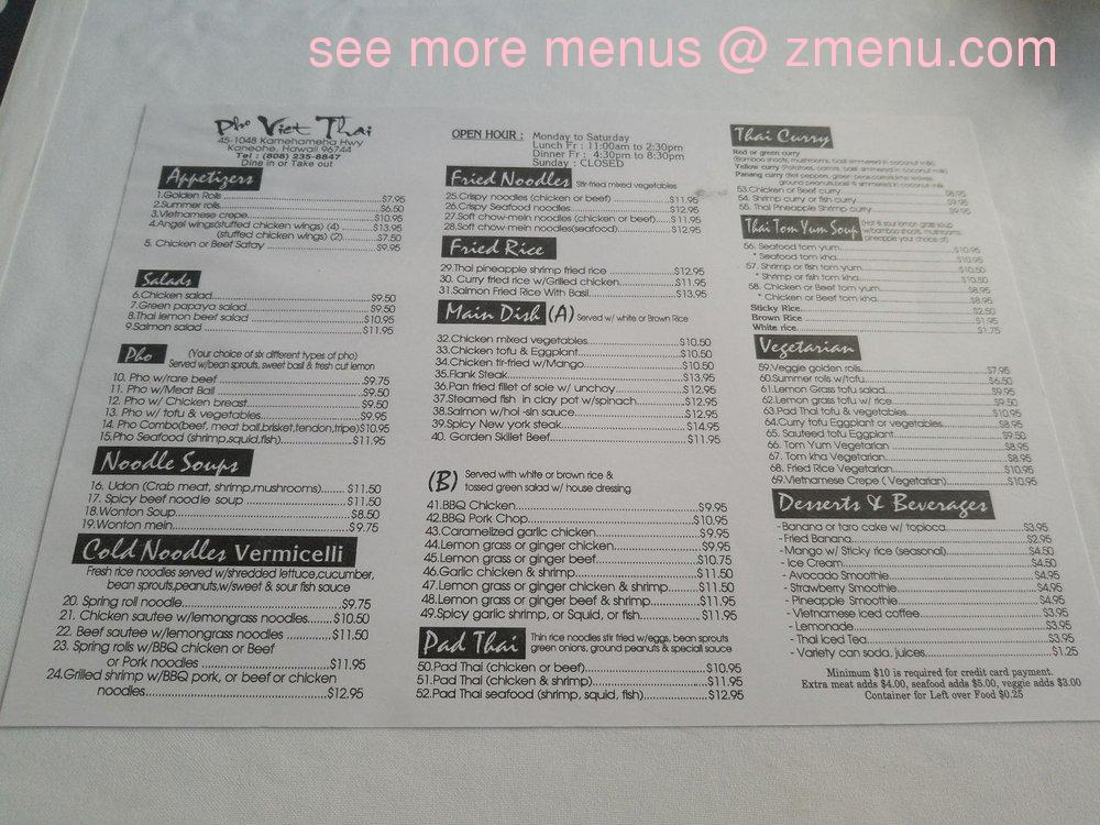 Online Menu Of Pho Viet Thai Restaurant Kaneohe Hawaii 96744 Zmenu