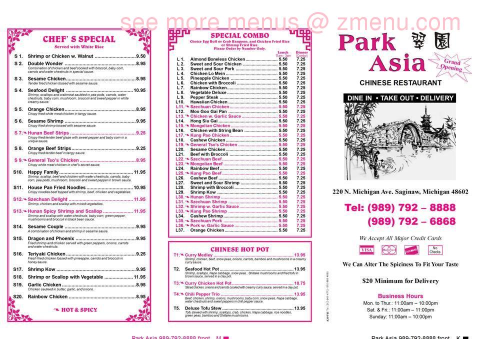 Online menu of park asia restaurant saginaw michigan for Asia asian cuisine menu