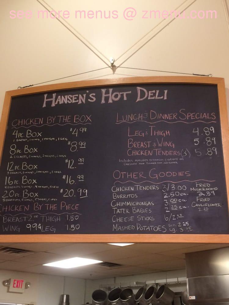 Online Menu Of Hansen Foods Restaurant Suttons Bay Michigan 49682