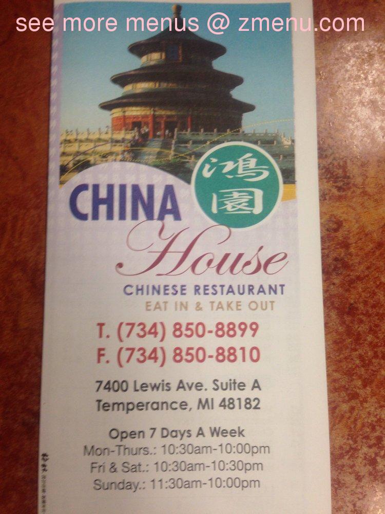 Online Menu of China House Restaurant, Temperance, Michigan, 48182 ...