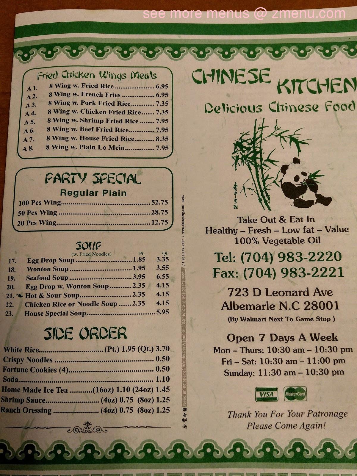 Online Menu Of Chinese Kitchen Restaurant Albemarle North