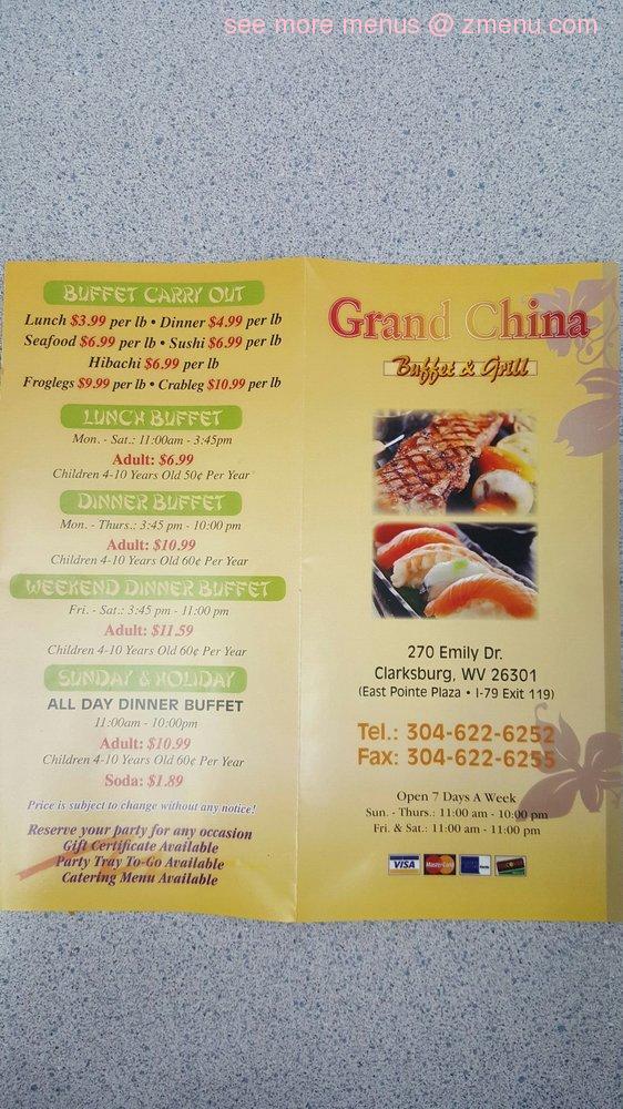 Online Menu Of Grand China Buffet Sushi Amp Grill Restaurant