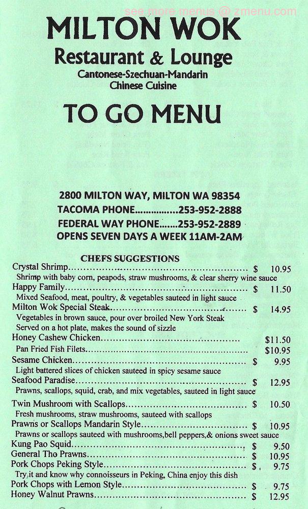 Online Menu of Milton Wok Restaurant, Milton, Washington