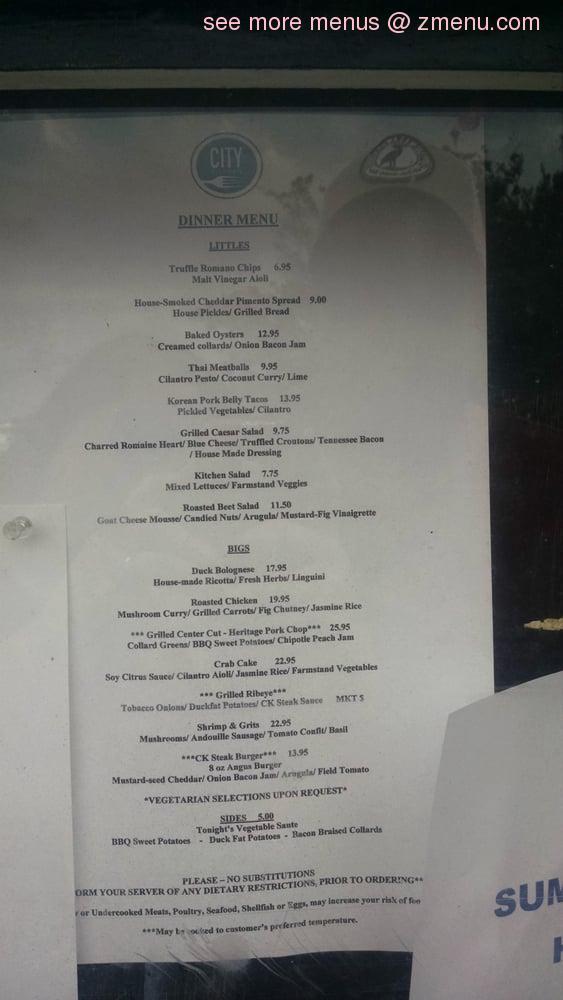 Online Menu of City Kitchen Restaurant, Beaufort, North ...