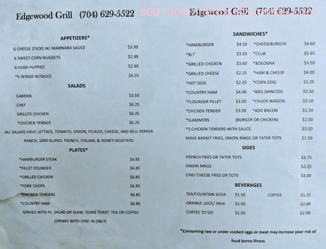 online menu of edgewood grill restaurant  bessemer city