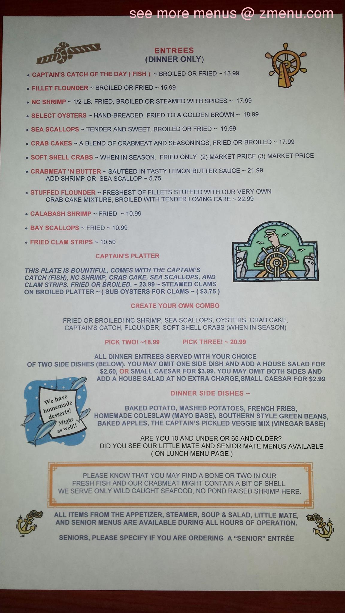 Online menu of the captain 39 s table restaurant buxton for Table 9 menu