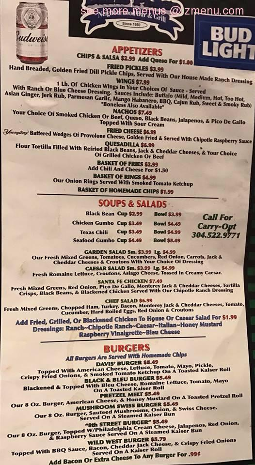 Online Menu Of Davis Place Restaurant Huntington West