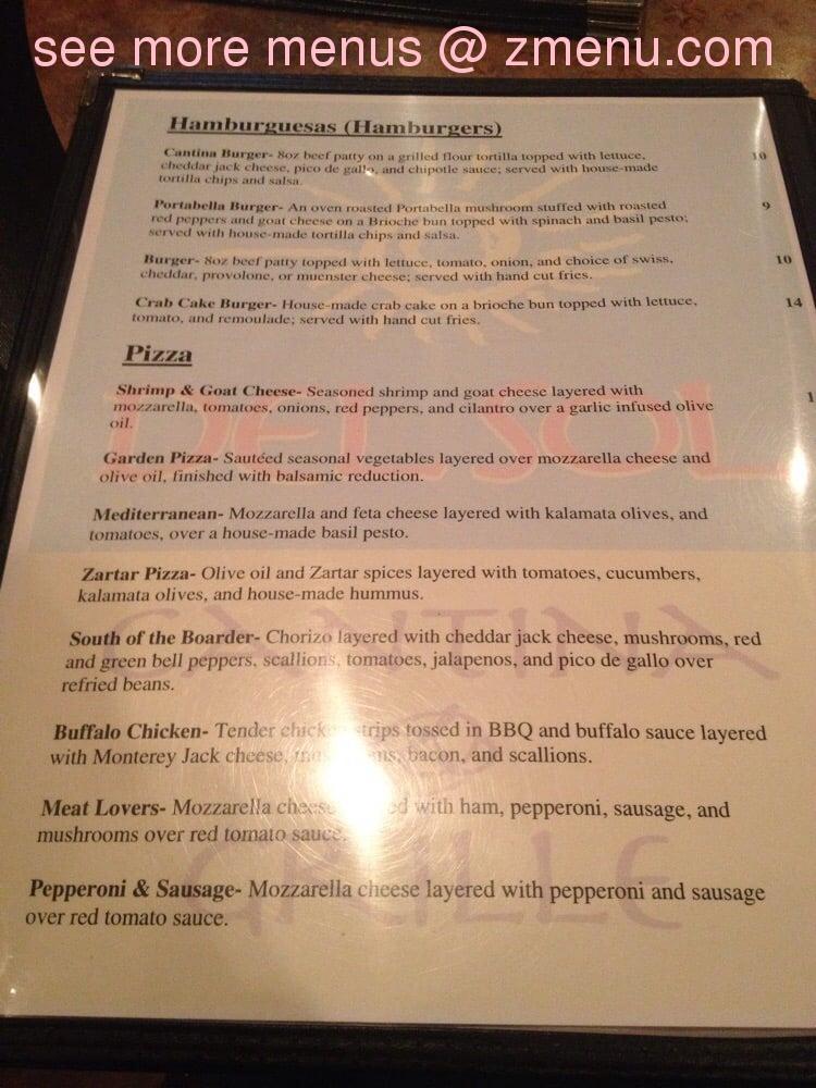 Online Menu Of Del Sol Cantina And Grill Restaurant Lewisburg West