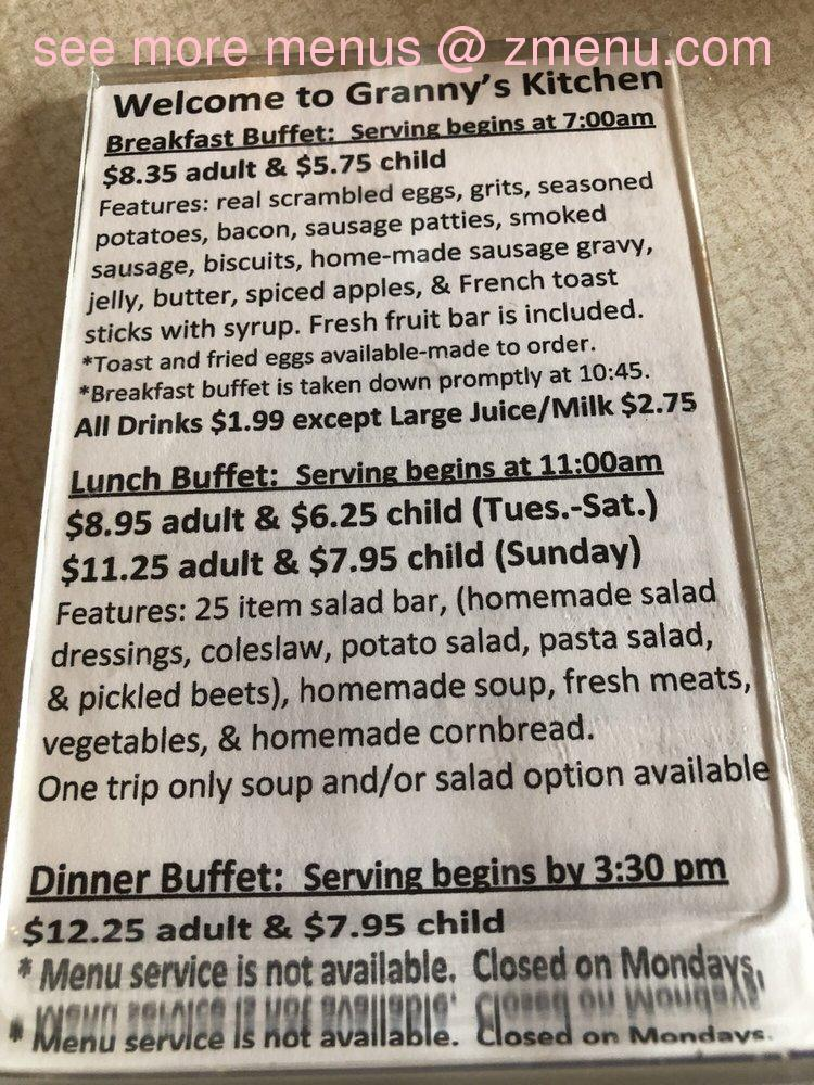 Online Menu Of Grannys Kitchen Restaurant Cherokee North Carolina 28719 Zmenu