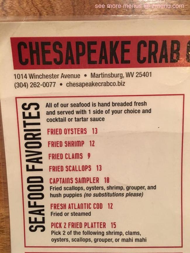 online menu of chesapeake crab seafood company restaurant martinsburg west virginia 25401. Black Bedroom Furniture Sets. Home Design Ideas