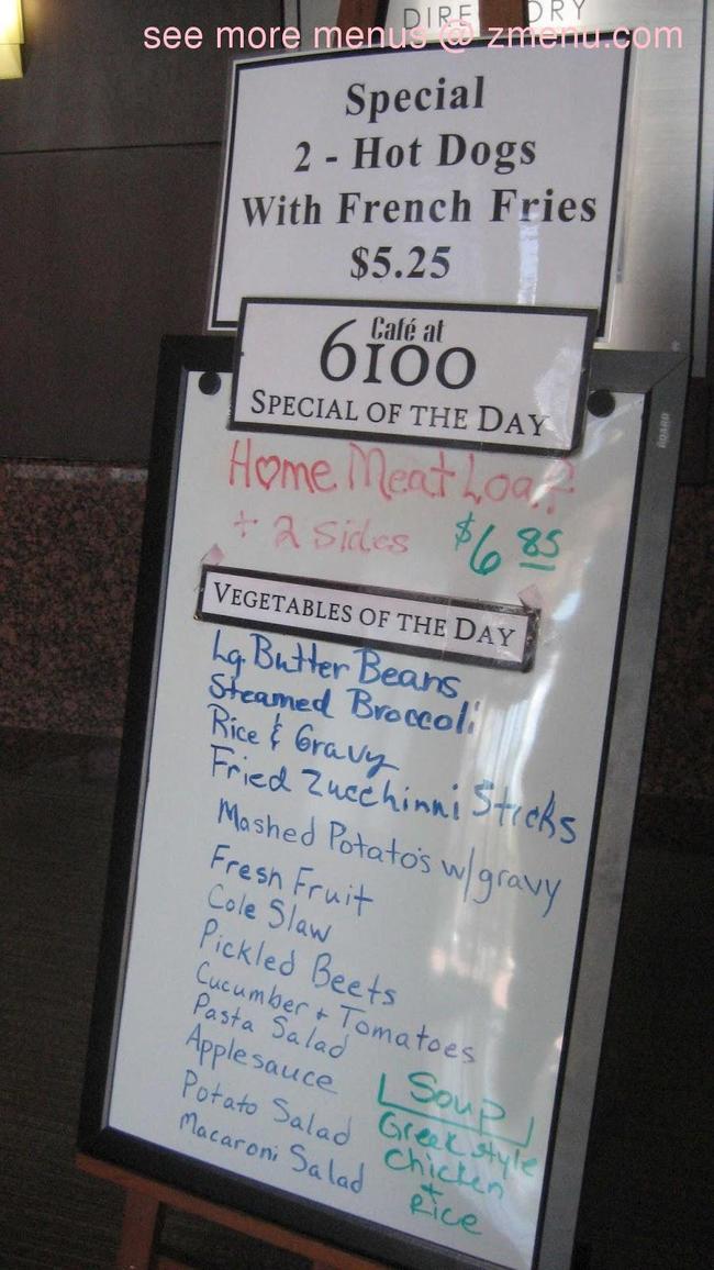 Online Menu Of Cafe At 6100 Restaurant Charlotte North