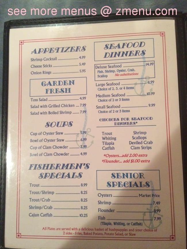 Nc Gas Prices >> Online Menu of Sandpiper Seafood Restaurant, Clinton, North Carolina, 28328 - Zmenu