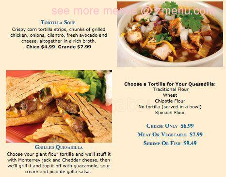Online Menu Of Blue Agave Mexican Grill Restaurant Port