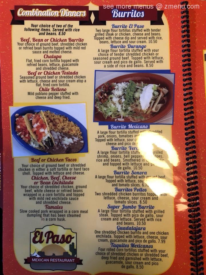 Online Menu Of El Paso Mexican Restaurant Restaurant