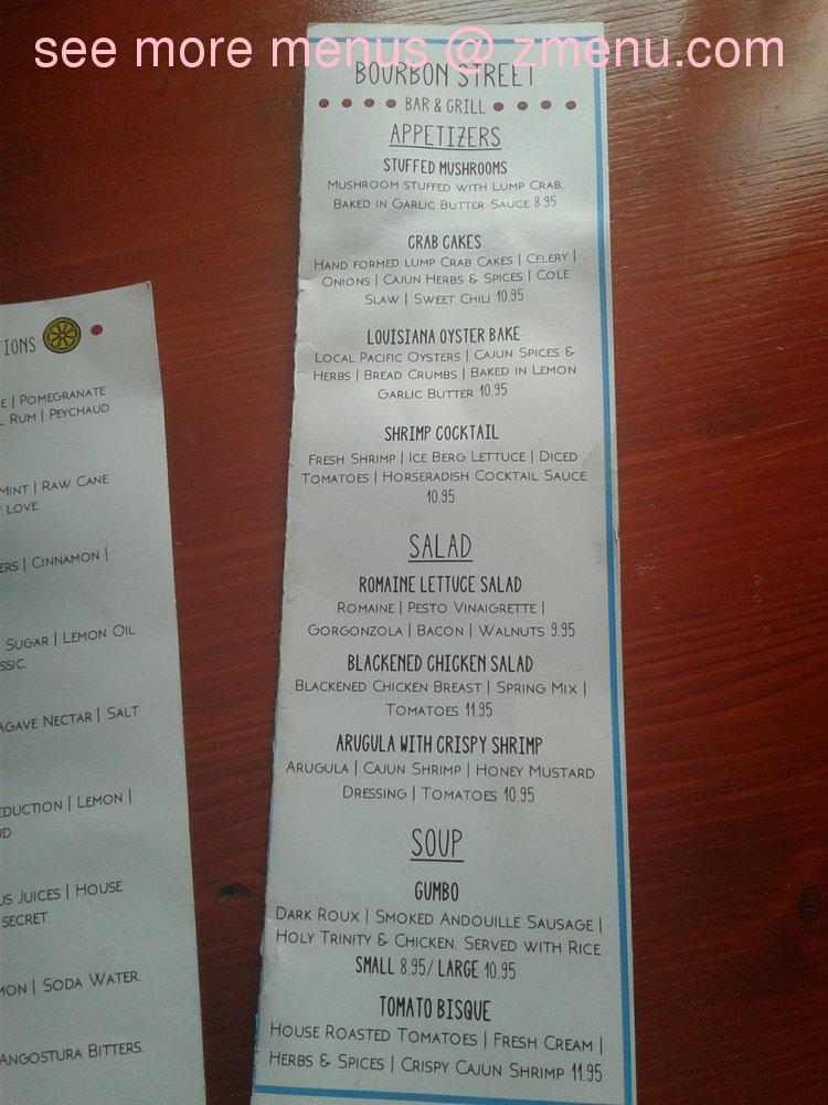 Online Menu Of Bourbon Street Bar And Grill Restaurant Puyallup