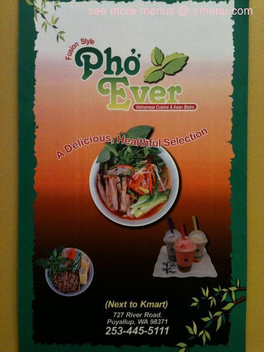 Online Menu of Pho Ever Restaurant, Puyallup, Washington