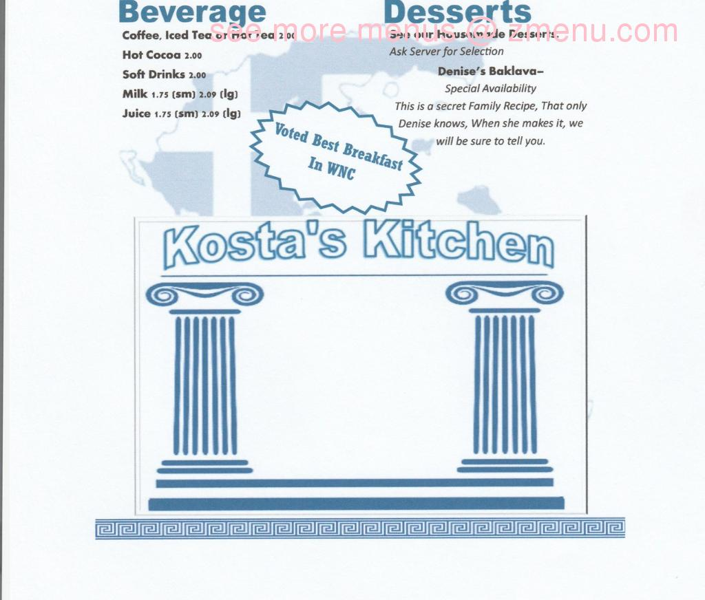 Online Menu of Kosta\'s Kitchen Restaurant, Fletcher, North Carolina ...