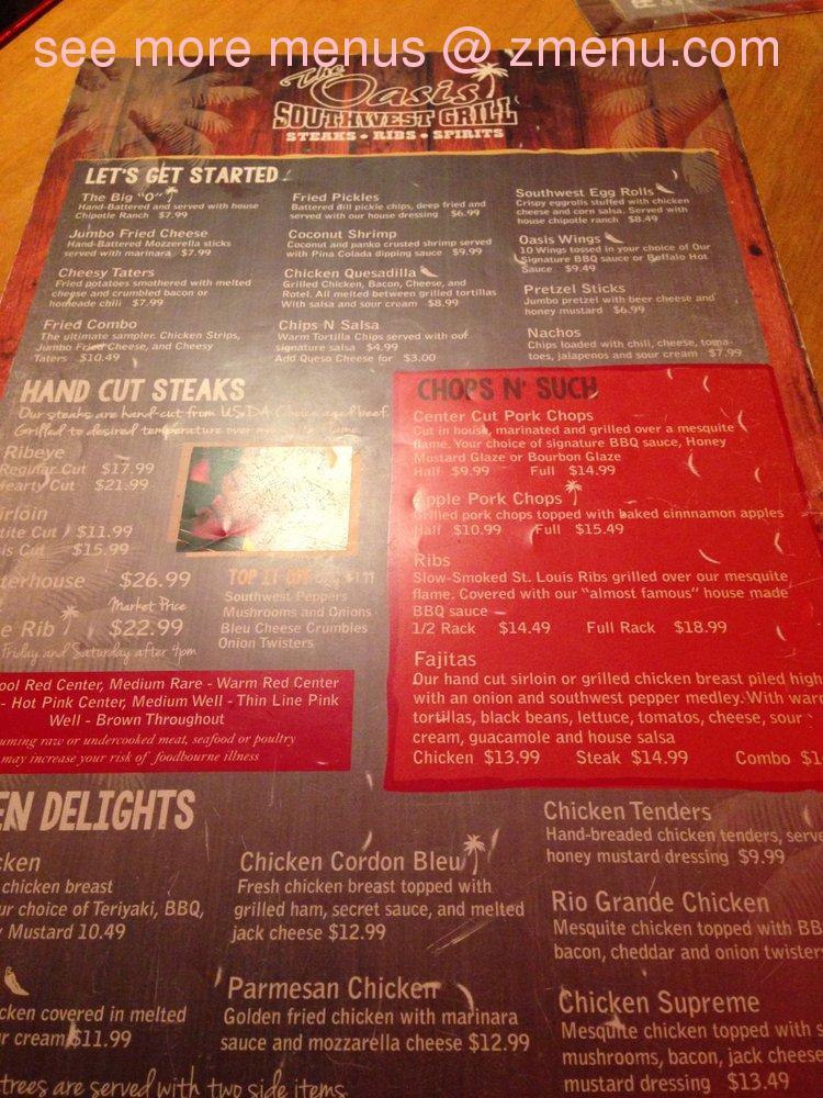 Online Menu Of The Oasis Southwest Grill Restaurant Madisonville