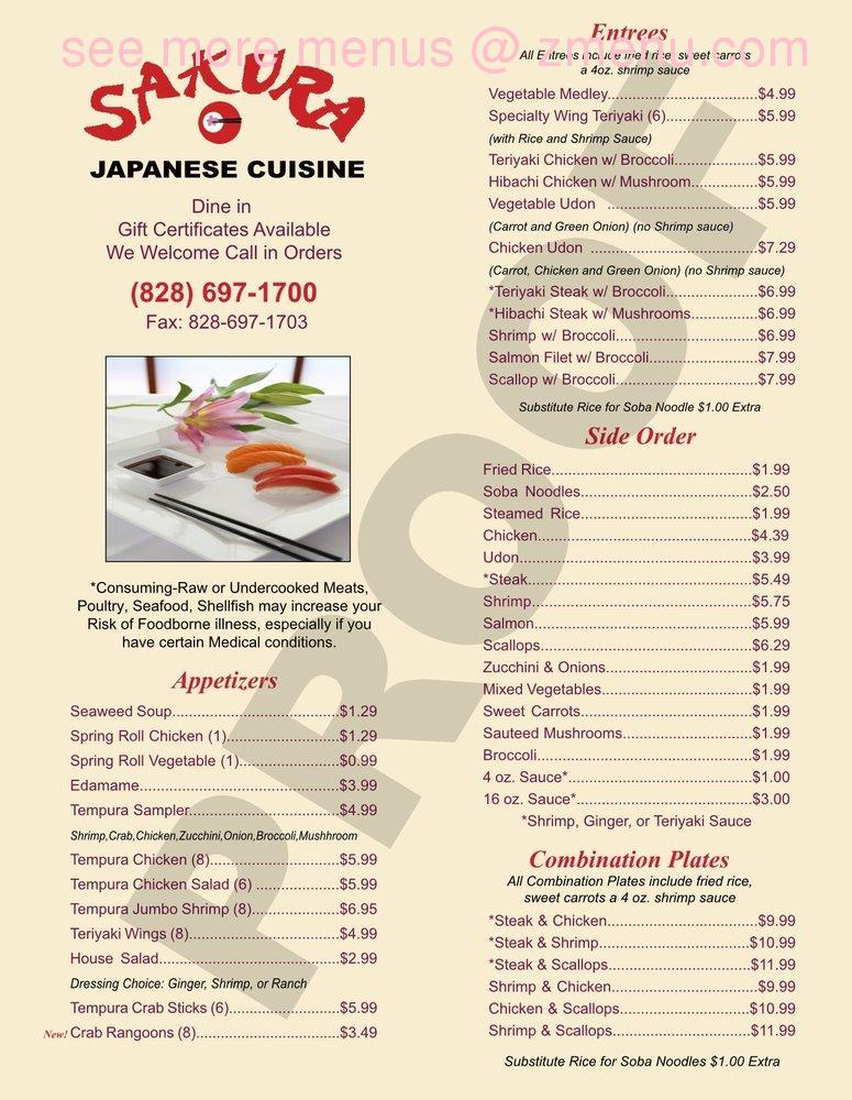 Online Menu Of Sakura Japanese Cuisine Restaurant Hendersonville North Carolina 28792 Zmenu