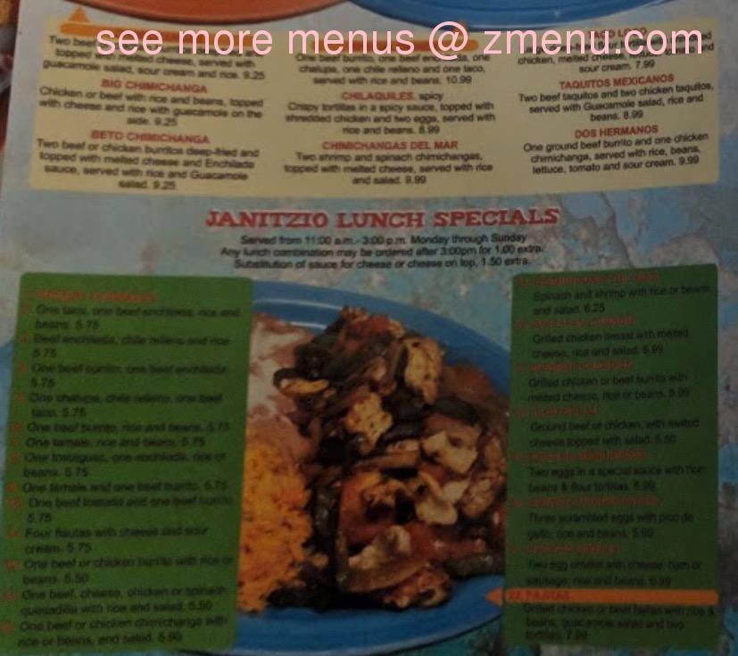 Online Menu Of Janitzio Mexican Restaurant Restaurant