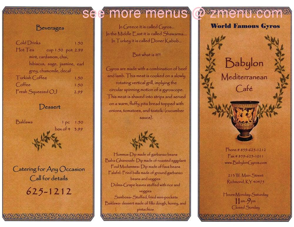Babylon Cafe Prices