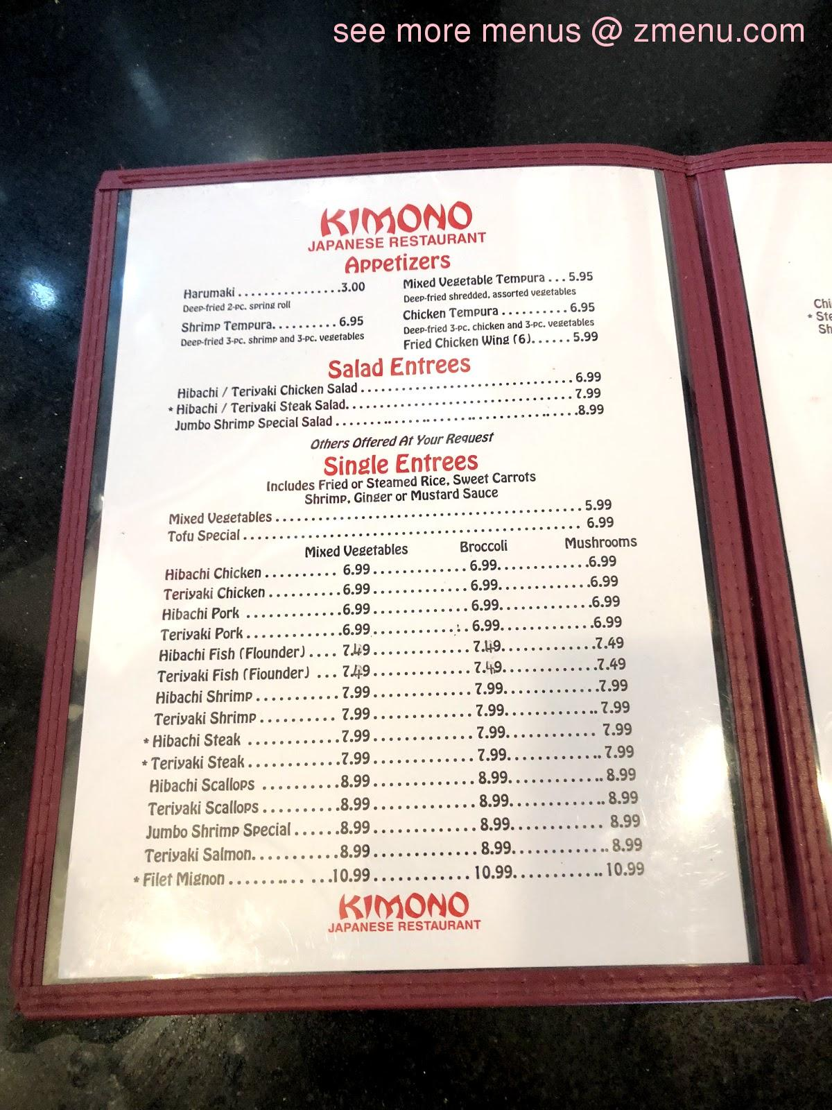 Online Menu of Kimono Japanese Restaurant Restaurant