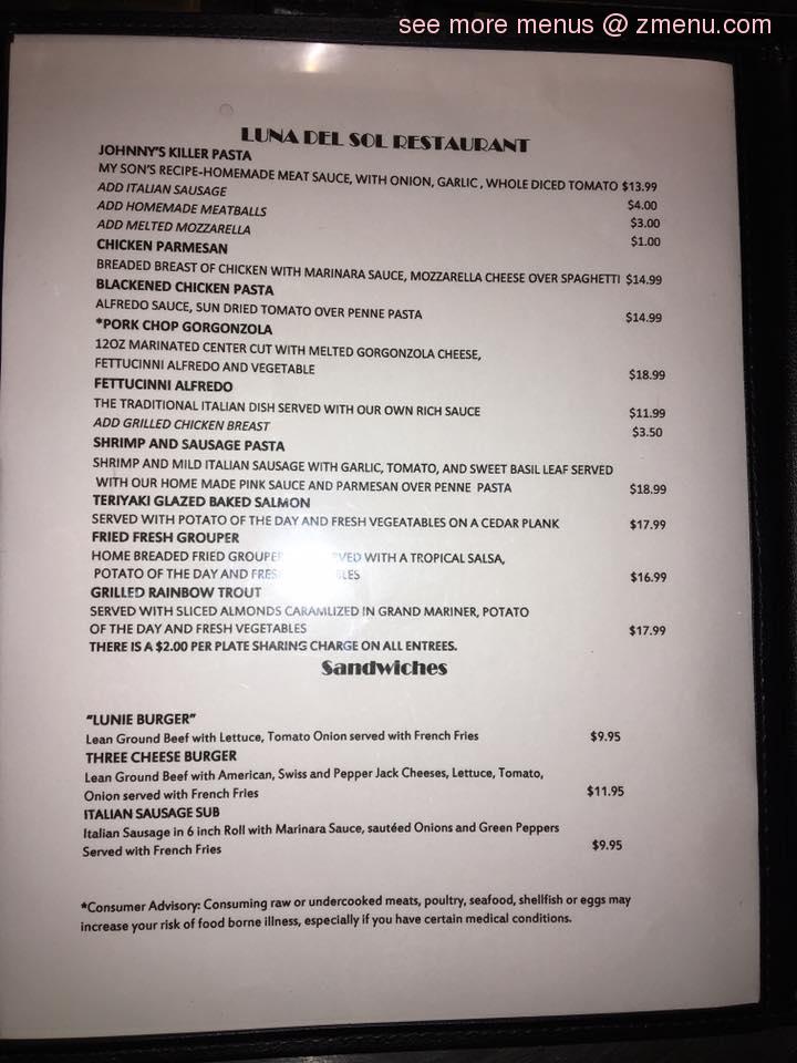 Luna Restaurant Menu Prices