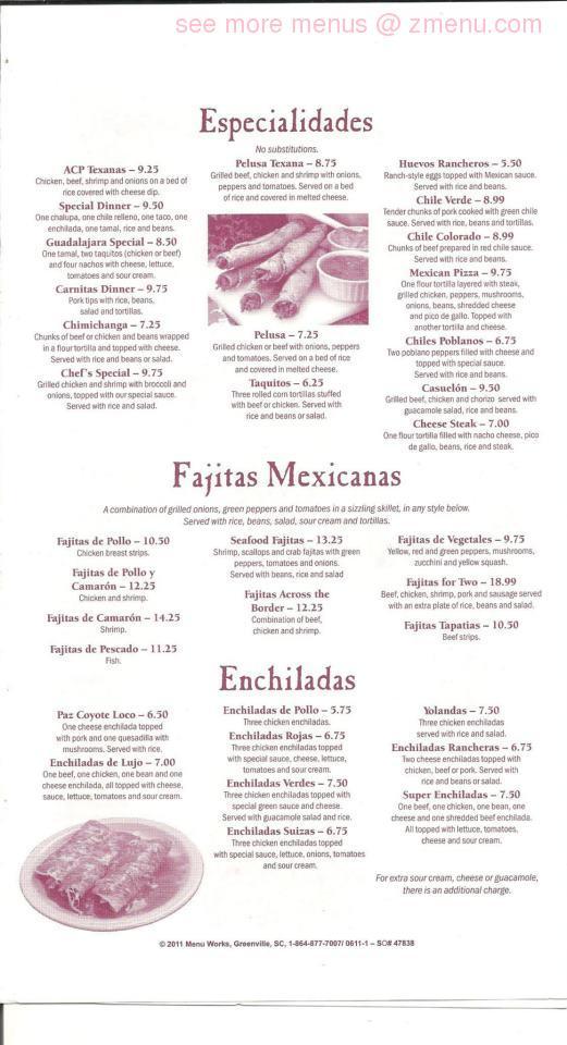 Pancho Villa Restaurant Menu Lenoir Nc