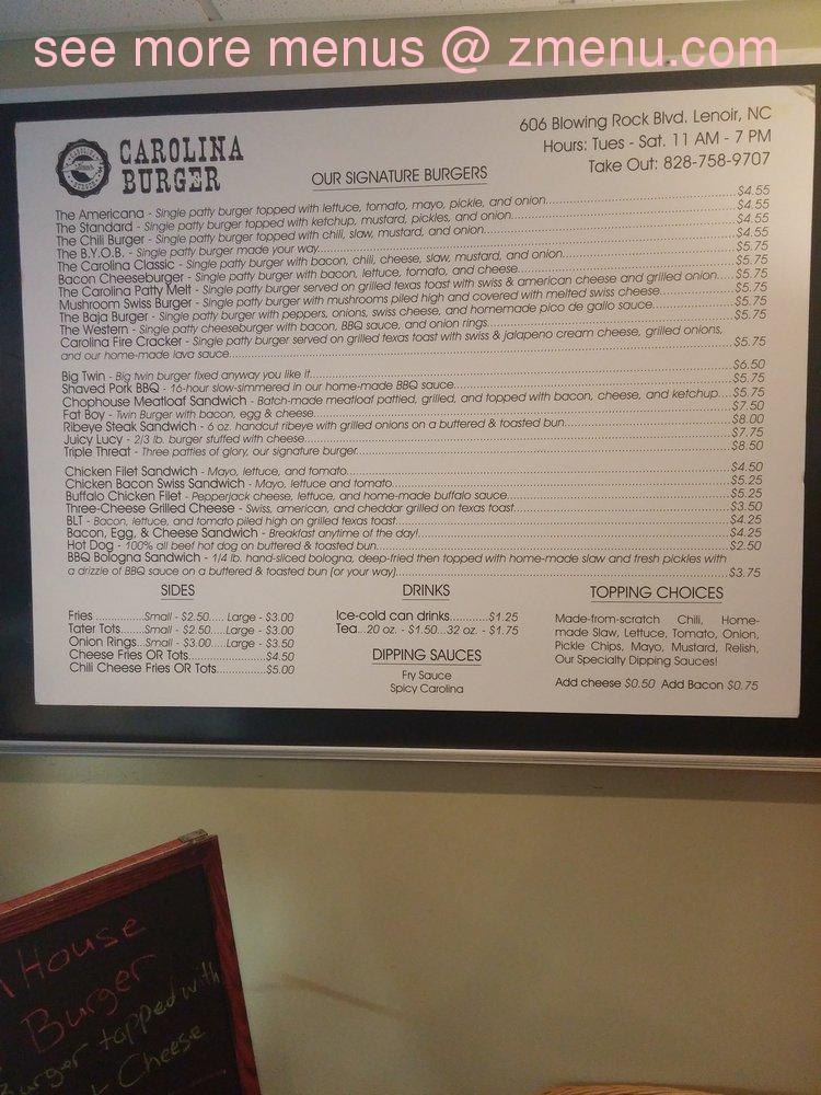 Online Menu Of Carolina Burger Restaurant Lenoir North