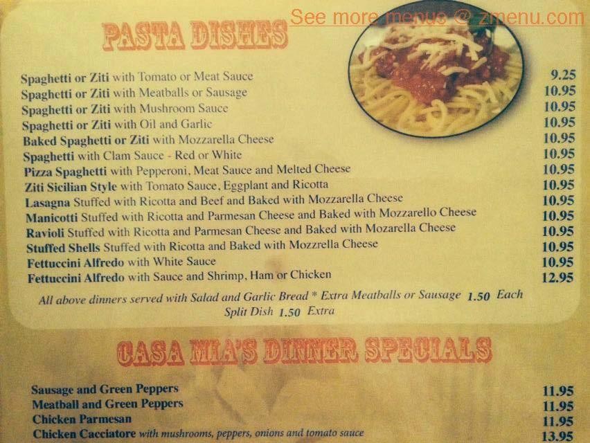 Online Menu Of Casa Mias Restaurant, Littleton, North