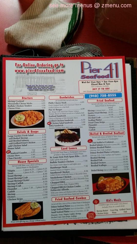 Online Menu of Pier 41 Seafood Restaurant, Lumberton ...