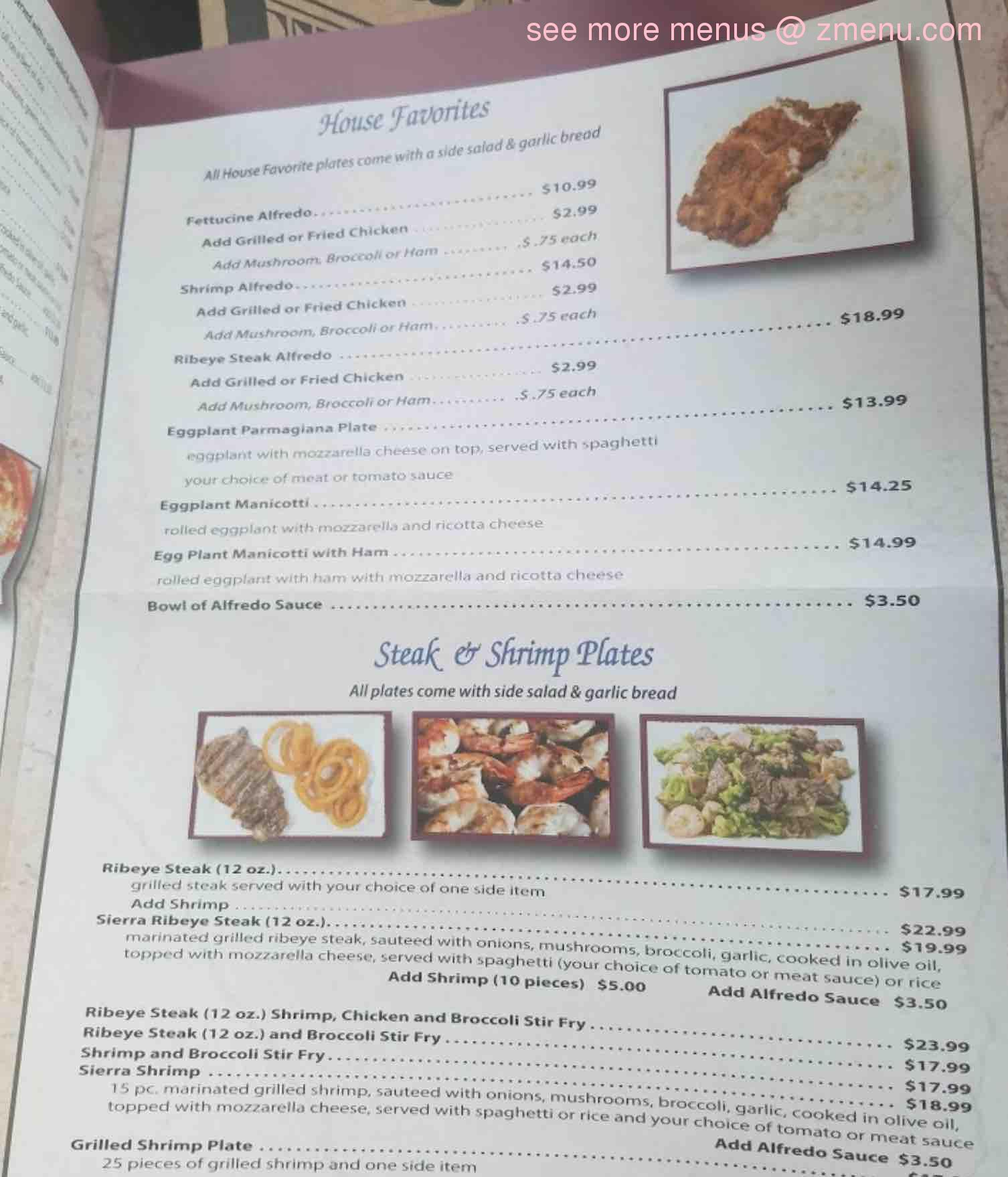 Zeno S Restaurant Lumberton Menu