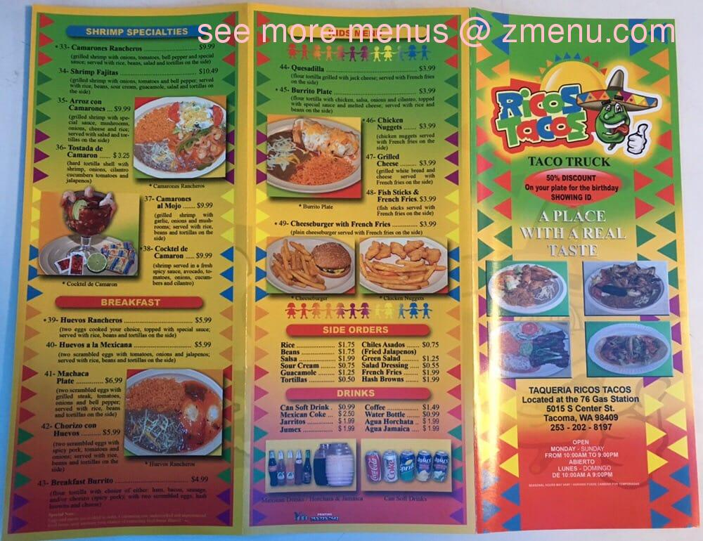 Online Menu of Ricos Tacos Restaurant, Tacoma, Washington