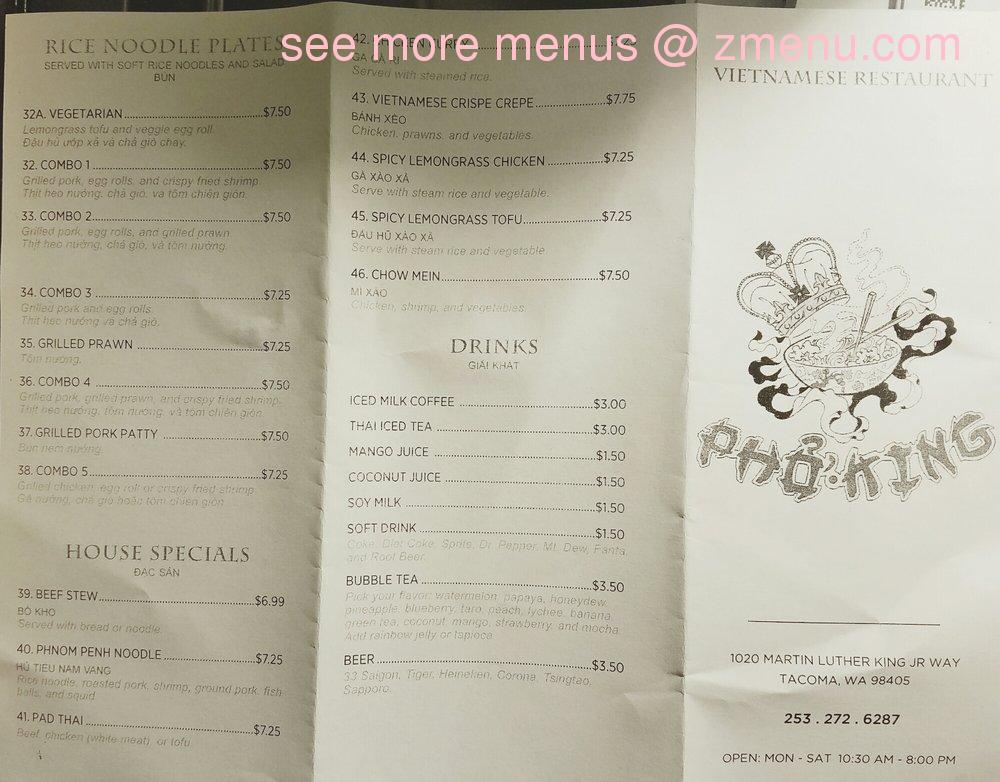 Pho Bac Cafe Menu
