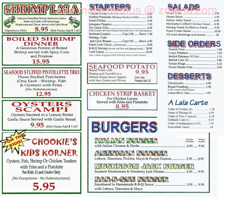 Online Menu Of Chookies Seafood And Oyster Bar Restaurant Hammond