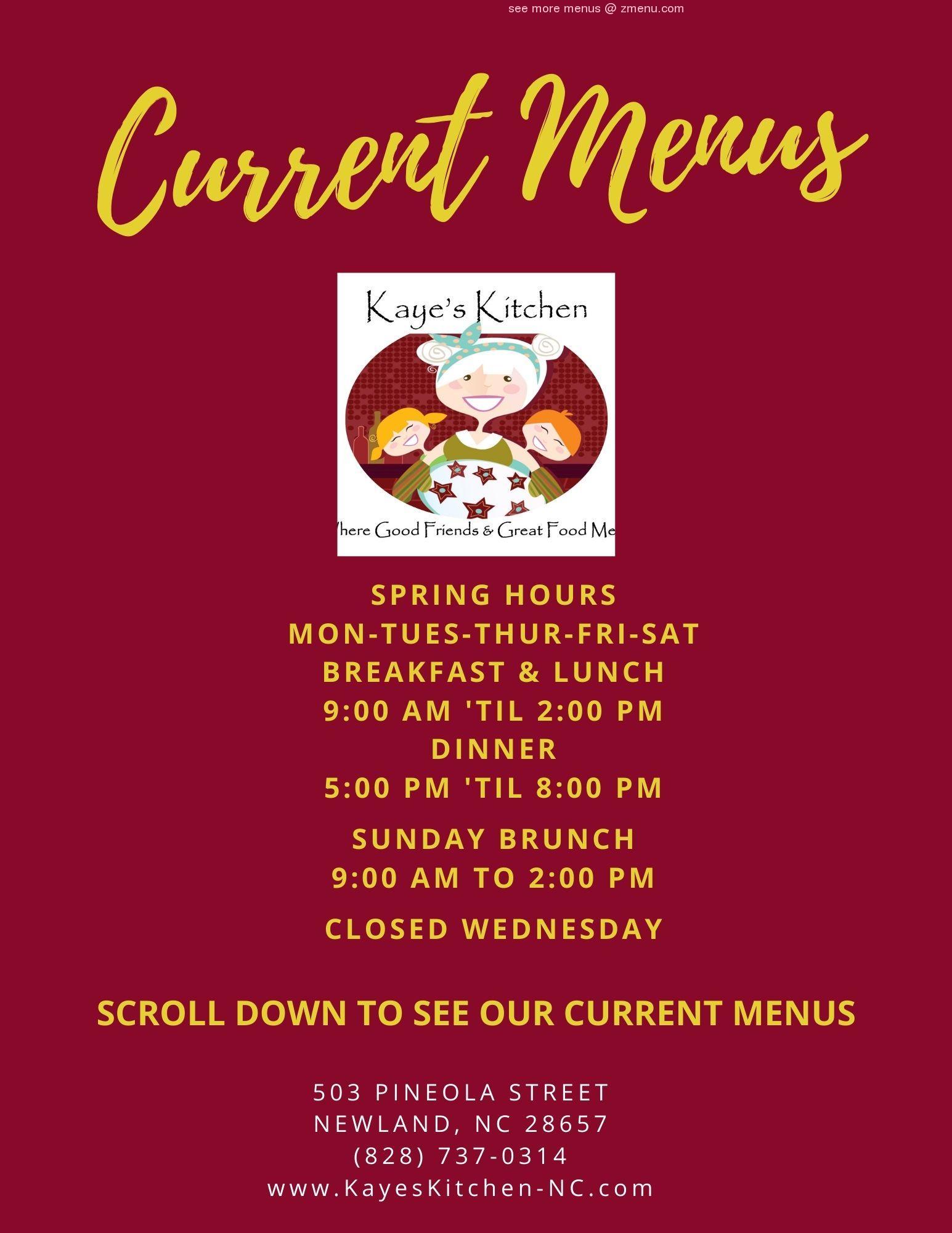 Online Menu Of Kayes Kitchen Restaurant Newland North Carolina 28657 Zmenu