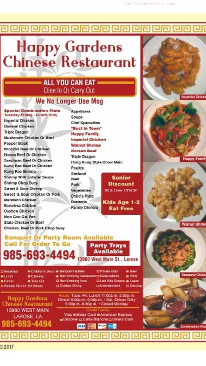 Online Menu Of The Happy Gardens Restaurant Restaurant Larose Louisiana 70373 Zmenu