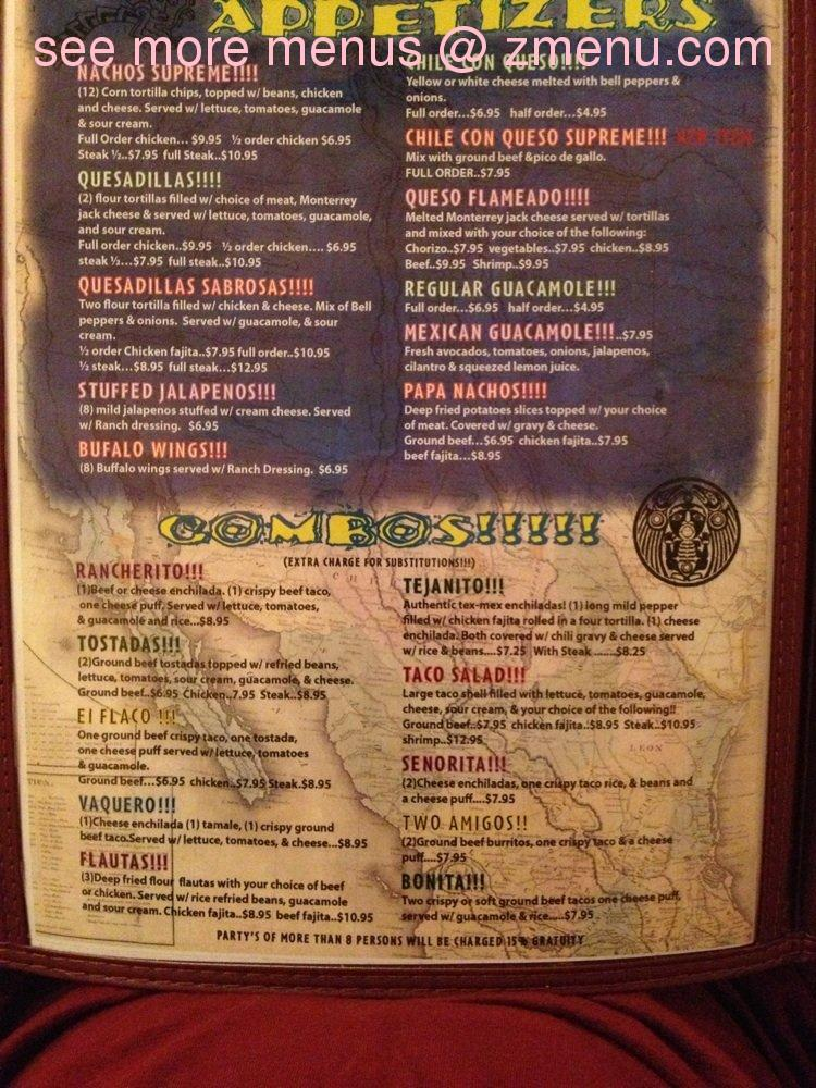 Fast Food Mexico Menu